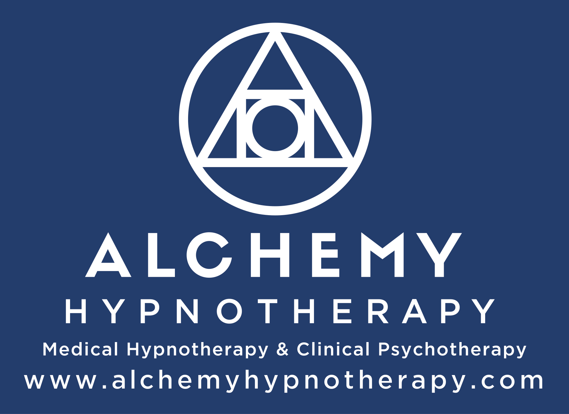 This is a picture of the Alchemy Hypnotherapy logo, white on blue background.