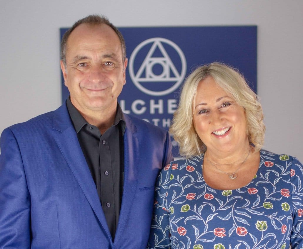 This is a photograph of Gareth and Enfys, Consultant Medical Hypnotherapists & Clinical Psychotherapists at Alchemy Hypnotherapy.