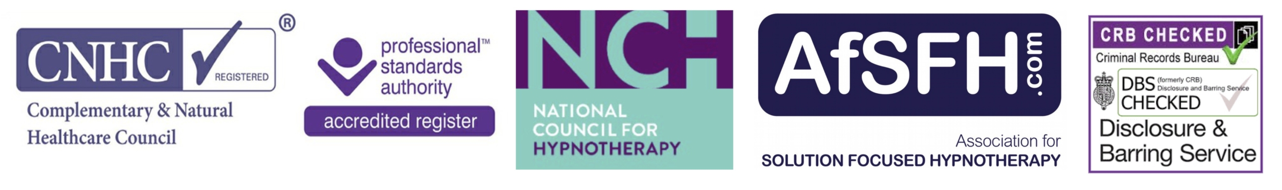 This is a row of logos from the professional bodies we are members of: The CNHC (Complementary & Natural Healthcare Council), The Professional Standards Register, The National Council for Hypnotherapy, The Association for Solution Focused Hypnotherapy and we are DBS-CRB Cleared to work with children and vulnerable adults