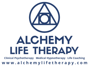 This is the Alchemy Life Therapy Logo and web address